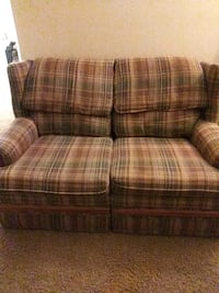 brown and gray plaid fabric sofa Phenix City, 36869