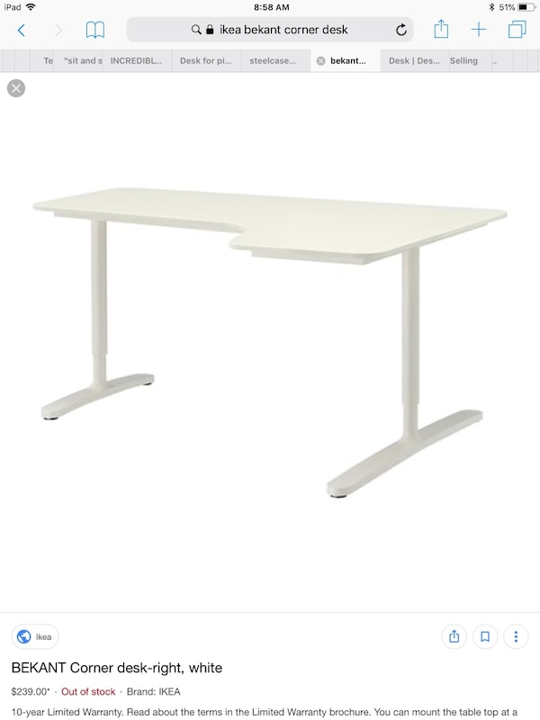 Used IKEA bekant corner desk white for sale in Los Altos - letgo