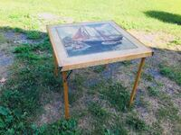Vintage Folding Wood Table with Sailboat Image Table Top Ottawa, K2K 1X7