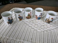 Set of 5 Norman Rockwell dated 1982 mugs Luzerne County, 18643