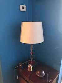 stainless steel base with beige lampshade table lamp Montréal, H3H 1M1