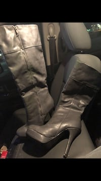 Pair of gray leather knee-high boots Durant, 74701