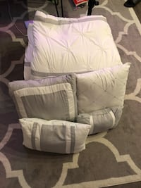 White and grey decorative comforter with pillows Arlington, 22209