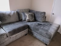 gray suede sectional sofa with throw pillows Savannah, 31419