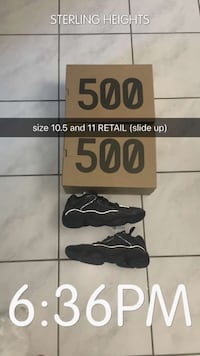 "Size 10.5 and 11 Yeezy Boost 500 ""Utility Black"" Sterling Heights, 48310"