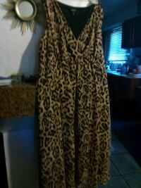 women's brown and black leopard print sleeveless dress Coachella, 92236