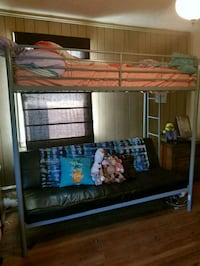 brown wooden bunk bed with mattresses Farrell, 16121