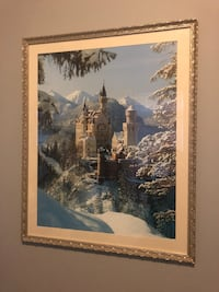 Ornate silver framed print of Neuschwantsein castle, 30 x 36 inches 28 mi