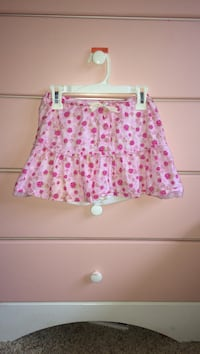 White and pink floral mini skirt