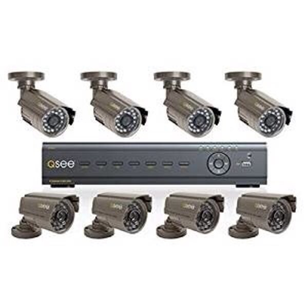 Used - Q-See 8 Channel H 264 network security DVR monitor, 8 cameras and  hard drive