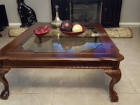 brown wooden framed glass top coffee table Scottsdale, 85260