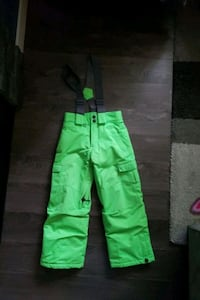 Bright green snowpants. XS youth