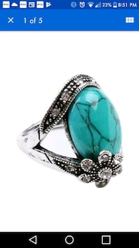 New silver tone green turquoise ring Montreal, H8T