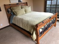 Iron and wood Queen bed frame Rancho Santa Fe, 92067
