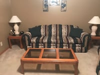 Couch, love seat, coffee table, 2 end tables, lamps & entertainment center. Trotwood, 45426