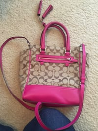 Pink and brown coach monogram 2-way handbag and wallet Glenmont, 12077