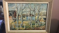 Brown framed painting of birch trees original oil