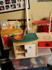 white, red, and blue plastic kitchen playset