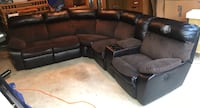 2 Piece Sectional Dual Power Recline Two Tone Pleather & Fabric Couch w/ Cup Holders & Storage Sofa Silver Spring, 20904