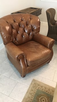 Brown leather sofa chair with ottoman Wesley Chapel, 33543