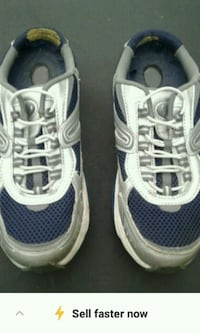 pair of blue-and-white running shoes