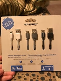 New/unopened 3pk charging cables for android 26.50 value  Calgary, T3M 1S8
