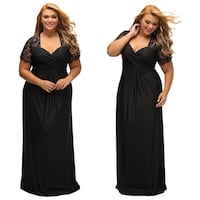 Black evening dress  plus size wedding formal lace sleeves  xl 2xl 3xl sleeves