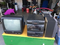 CRT television with shelf stereo