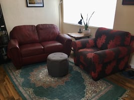 Leather sofa and cloth chair