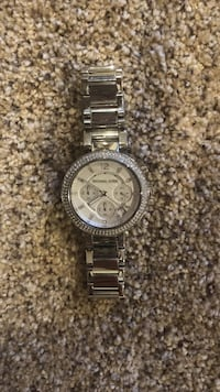Round silver-colored chronograph watch with link bracelet Yorba Linda, 92886