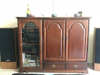 brown wooden cabinet with drawer null