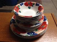 White-and-red floral ceramic saucers and plates Las Vegas, 89103