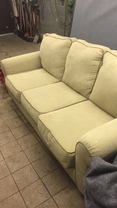 Beige fabric 3-seat pull out sofa