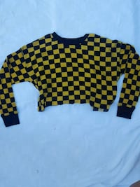 Forever 21 cropped black and yellow checker shirt Alameda, 94502