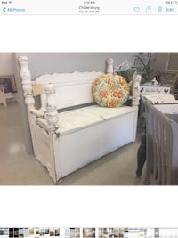 White bench made from queen size bed the seats lifts for storage. Heavy and built well Sylacauga, 35151