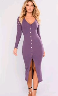 size 1X light purple long sleeve midi party dress Arlington, 76010