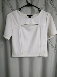 white scoop-neck shirt 26 km