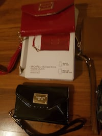 two red and black leather crossbody bags