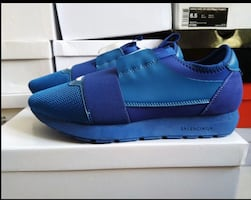 Pair of blue leather slip-on shoes
