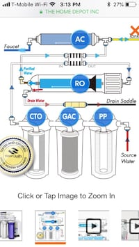 iSpring RCC7 5-Stage Residential Under-Sink Reverse Osmosis Water Filter System 70 km