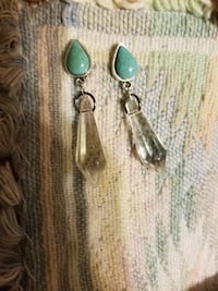 silver-colored teal gemstone earrings