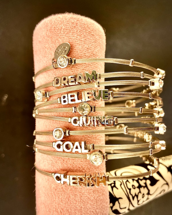 Cookie Lee Bangle Bracelets - Silver, Rhinestones, Inspirational Words 8f18cd6f-6ba2-4130-8026-facc339267d9