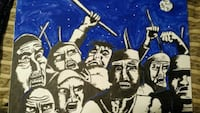 Original angry mob painting on 16x24in Long Beach, 90805