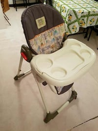 baby's white and black high chair