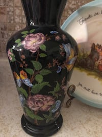 black, pink, and green floral ceramic vase Mountain View, 80212
