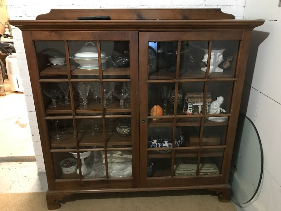 Brown Wooden Frame Clear Glass Cabinet