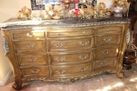 Brown wooden 6 drawer buffet table