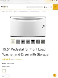 NEW Maytag/Whirlpool White 15.5-in x 27-in Universal Laundry Pedestal , 11427