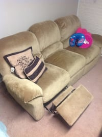 Beige fabric 3 seat reclining sofa (CLEAN) plus recliner chair