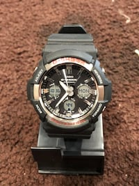 round silver chronograph watch with black strap Los Angeles, 90044